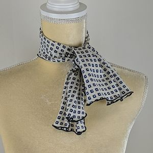 Vintage Navy and White Geometric Pattern Scarf